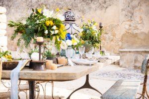 Sicilian style table decoration-luxury wedding in sicily